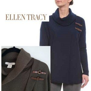 Ellen Tracy Cable Cowl Neck Buckles Sweater Olive
